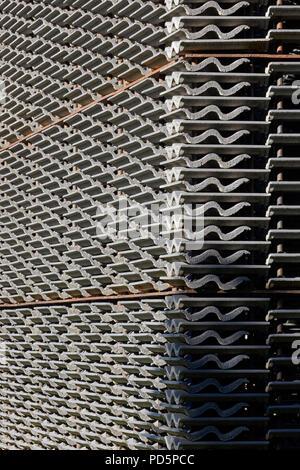Stacked tiles of east elevation. Serpentine Summer Pavilion 2018, London, United Kingdom. Architect: Frida Escobedo, 2018. - Stock Image