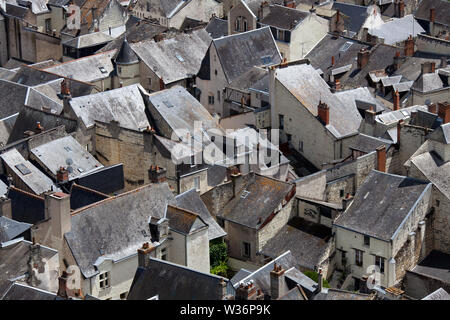 Chinon, France. Picturesque aerial rooftop view of Chinon houses. - Stock Image