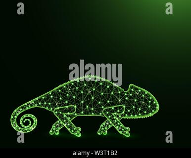 Lizard chameleon low poly model, African animal abstract graphics, reptile polygonal wireframe vector illustration on dark green background - Stock Image