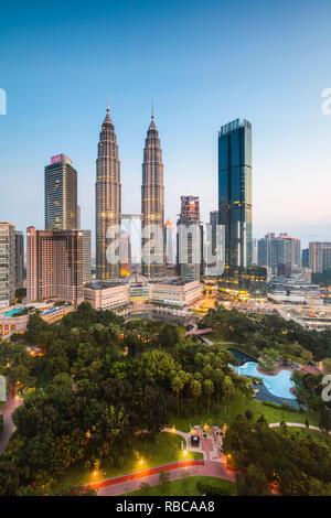 Skyline with KLCC and Petronas towers, Kuala Lumpur, Malaysia - Stock Image