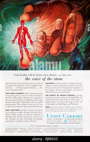 A 1955 magazine advertisement for Union Carbide. - Stock Image