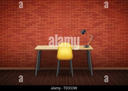 Workplace Wood table top with chair - Stock Image