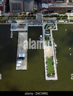 aerial photograph Pier 25, Hudson River Park, Lower Manhattan, New York City - Stock Image