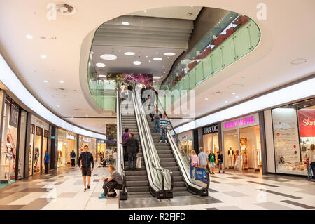 Escalators in Kings Avenue Mall, Tombs of the Kings Avenue, Paphos (Pafos), Pafos District, Republic of Cyprus - Stock Image