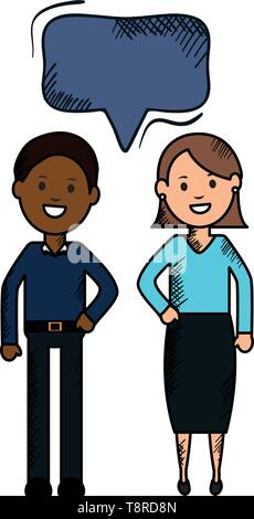 interracial couple with speech bubbles avatars characters vector illustration design - Stock Image