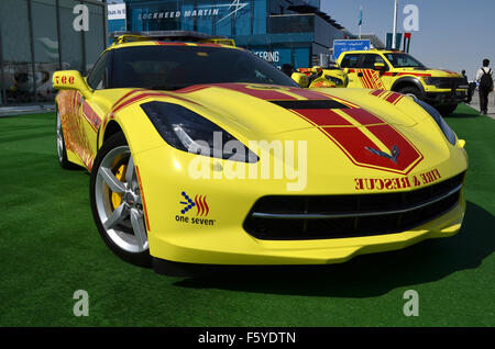 Dubai, UAE. 10th November, 2015. Hot Rod: Dubai Civil Defence are using a bright yellow V8-powered Chevrolet Corvette - Stock Image