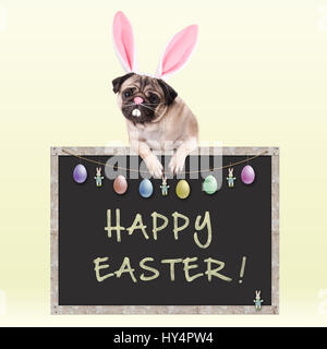 cute pug puppy dog with bunny ears diadem hanging with paws on chalkboard sign with text happy easter and decoration, - Stock Image