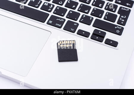 Fast SD memory card holding by fingers - Stock Image