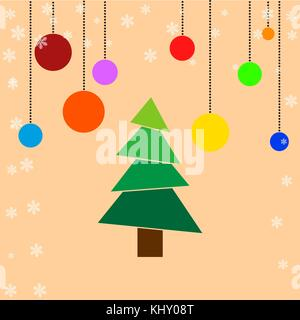 Christmas Tree with light decorations with abstract background - Stock Image