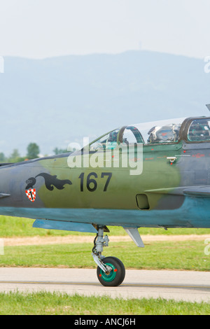 Croatian Air Force MiG-21 BISD fighter '167' nose detail - Stock Image