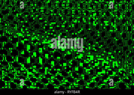 Abstract net texture. Green ascii symbols, letters or pixels on black background. Glitch on digital display. Encrypted or corrupted data. Cyber attack. - Stock Image