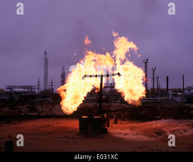 Natural Gas flaring at the Priobskoye field in Western Siberia 100km west of Nefteyugansk, Russia. - Stock Image