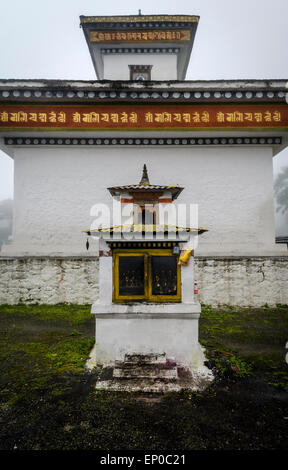 Chortens of the memorial of the 108 Druk Wangyal Khangzang Chortens on the Dochula pass betweeen Thimphu and Punakha, - Stock Image