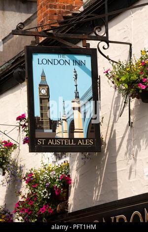 UK, Cornwall, Padstow, Lanadwell Street, London Inn, St Austell Brewery pub sign - Stock Image