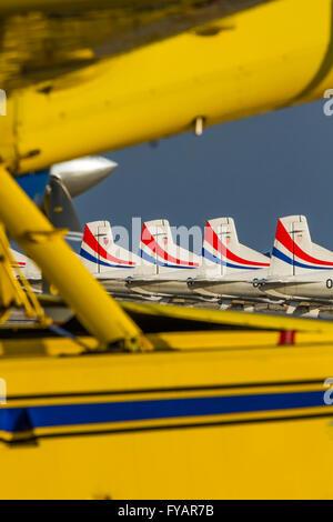 Tails Krila oluje Wings of storm aerobatic group Croatia Croatian HRZ i PZO Zemunik lined tail apron artistic shot - Stock Image