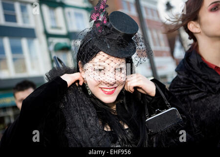 Beautiful girl at Whitby Goth Weekender. - Stock Image