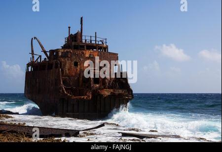 A Shipwreck on Klein Curacao, Curacao - Stock Image