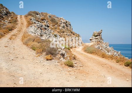 Dirt track road with sharp U bend - Stock Image