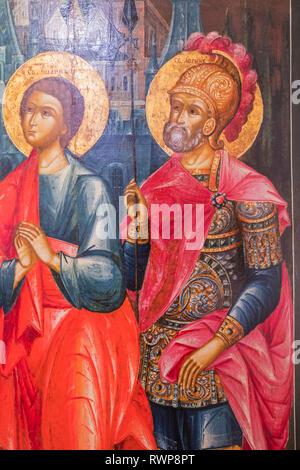 Descent from the Cross icon, Palekh, Ivanovo region, Russia - Stock Image