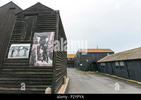 The Hastings Net Shops, Fisherman black wooden huts at Hastings at Hastings, East Sussex, England , UK - Stock Image
