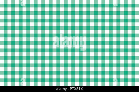Gingham-like table cloth with greenery green and white checks. Symmetrical overlapping stripes in a single solid color against white background - Stock Image