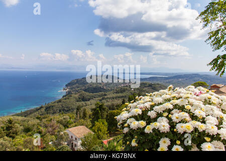 Panoramic view of the coasline from the village of Chlomos in the island of Corfu in Greece - Stock Image