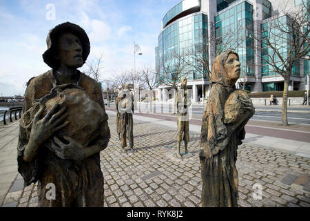 Rowan Gillespies Dublin Famine Memorial sculptures outside the IFSC building Dublin republic of Ireland - Stock Image