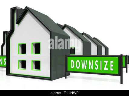 Downsize Home Icons Means Downsizing Property Due To Retirement Or Budget. Find A Tiny House Or Apartment - 3d Illustration - Stock Image