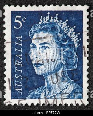 Used Australia 5c blue Stamp with Queen Elizabeth II - Stock Image