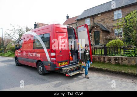 Mobile Post Office van in Kildale, North Yorkshire. - Stock Image