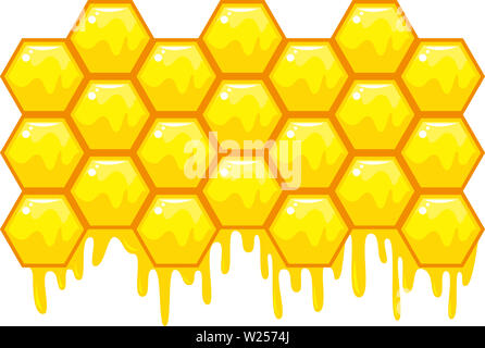 beehive honeycomb bee food honey  breakfast natural illustration - Stock Image