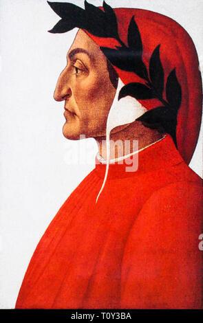 Sandro Botticelli, Portrait of Dante Alighieri (c.1265-1321), c. 1495 - Stock Image