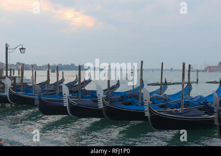 gondolas Venice by Doges Palace - Stock Image