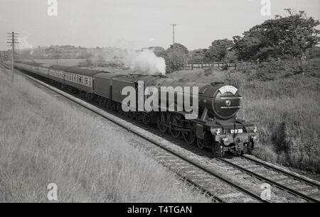 1969, historical, on the railway track, the iconic steam locomotive, The Flying Scotsman', england, UK. - Stock Image