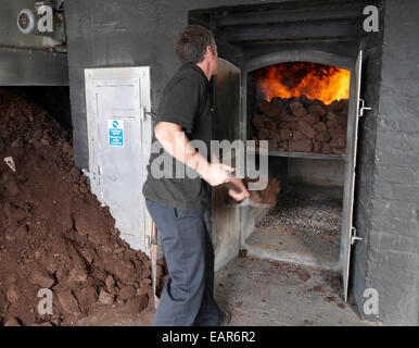 The peat oven kiln at Laphroaig distillery Islay Scotland - Stock Image