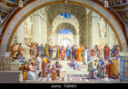 Raphael, The School of Athens, fresco, 1511, Depicted people, Epicurus, Averroes, Pythagoras, Parmenides, Socrates, Alexander the Great, Ptolemy - Stock Image