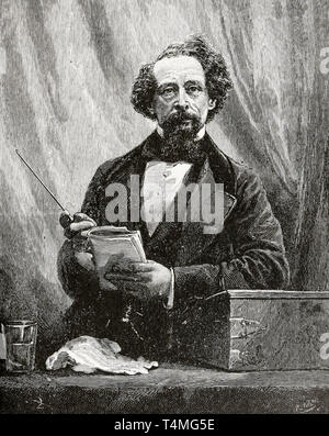 Charles Dickens (1812-1870), portrait engraving, 1892 - Stock Image