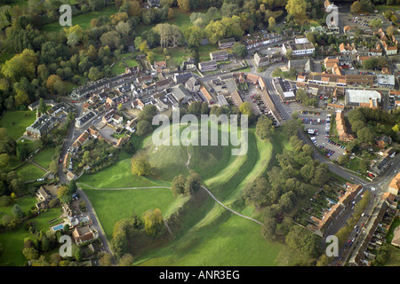 Aerial view of Thetford Castle, the remains of a Motte & Bailey Castle, built in Norman times but dating back - Stock Image