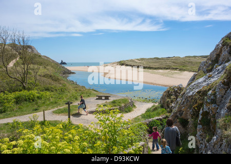 View of Broad Haven South beach and coastal path at Bosherston, Pembrokeshire. - Stock Image