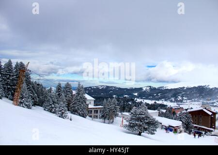 Scenic View Of Snowcapped Mountains Against Sky - Stock Image