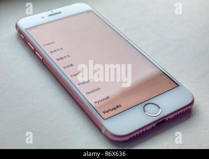 Close up of Apple iPhone 7 language selection screen - Stock Image