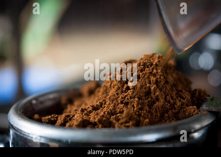 Coffee while grinding in a coffee machine grinder - Stock Image