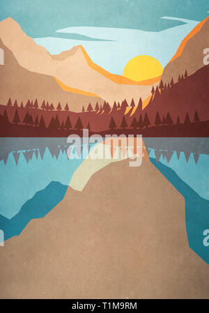 Sunset over tranquil mountain lake - Stock Image
