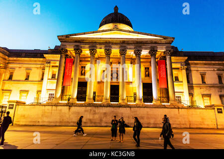 The National Gallery London, The National Gallery sign, The National Gallery building facade, The National Gallery - Stock Image