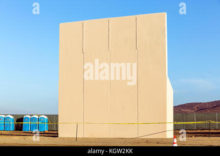 Trump administration new US-Mexico border wall prototypes are unveiled in October 2017. This prototype is one of - Stock Image