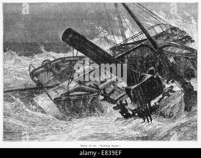 Wreck of the Rothesay Castle steam Packet ship circa 1831 - Stock Image