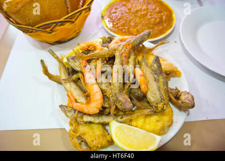 Grilled mixed seafood meal, Casablanca, Morocco - Stock Image