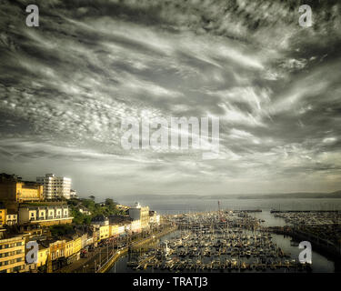 PHOTOGRAPHIC ART: Torquay Harbour and Torbay, Devon, Great Britain, HDR-Image) - Stock Image