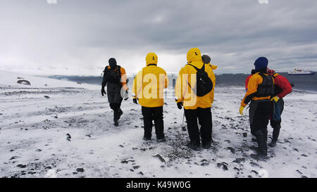 Small group of adventure travelers stand on Brown Bluff on the continent of Antarctica on a cold windy day with an expedition ship in the background. - Stock Image