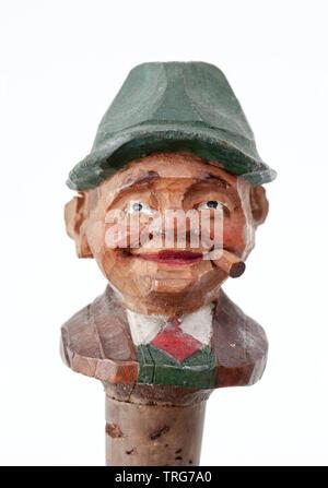 Hand Carved Black Forest Character Bottle Stopper - Stock Image